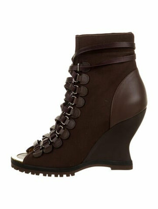 Chloé Leather-Trimmed Ankle Boots w/ Tags Brown