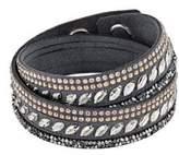 Swarovski Slake Pulse Grey Crystal-Accented Leather Wrap Bracelet