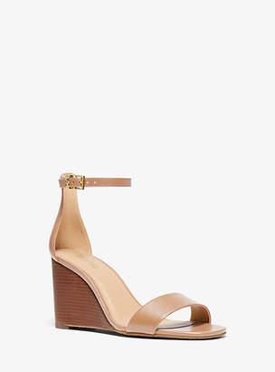 Michael Kors Fiona Leather Wedge Sandal