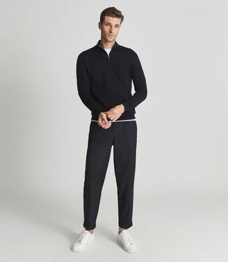 Reiss Blackhall - Merino Wool Zip Neck Jumper in Navy