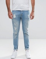 Hoxton Denim Jeans Bleach Out Skinny Jean Oil Wash Rips