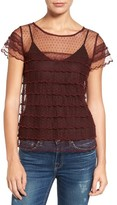 Hinge Women's Scalloped Mesh Top