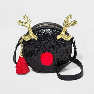 Mad Love Glitter Reindeer Crossbody Bag - Black