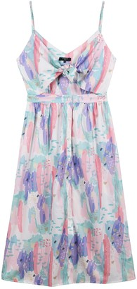 FRNCH Tie Back Cutout Abstract Print Dress