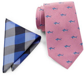 Tommy Hilfiger Big Gingham Silk Pocket Square & Shark Tie Set