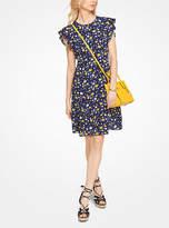 Michael Kors Floral Crepe Flounce-Sleeve Dress