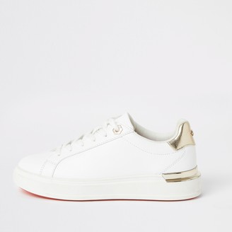 River Island Womens White lace-up chunky platform trainers