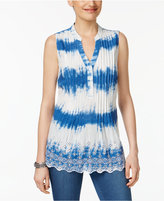 Style&Co. Style & Co Cotton Eyelet-Embroidered Pleated Top, Only at Macy's