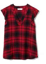 Vince Camuto Two By Plaid Flutter-sleeve Top
