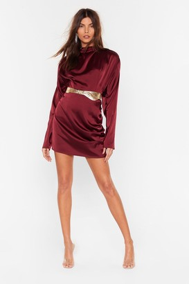 Nasty Gal Womens In a Ruche Satin Mini Skirt - Red - 8, Red