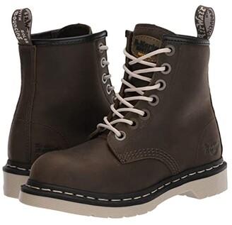Dr. Martens Work Maple Zipper Steel Toe (Olive Wyoming) Women's Shoes
