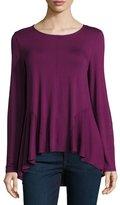 Neiman Marcus High-Low Hem Drape Tee, Rich Purple