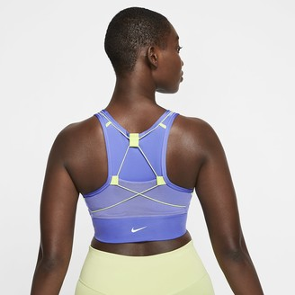 Nike Women's Medium-Support 1-Piece Pad Pocket Sports Bra Swoosh Icon Clash