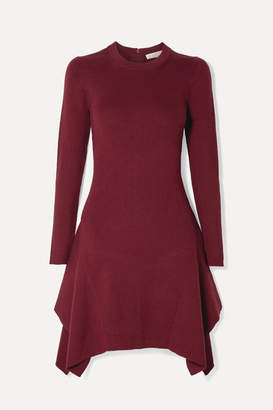 MICHAEL Michael Kors Asymmetric Ribbed-knit Mini Dress - Claret