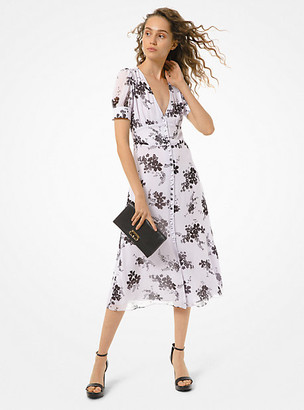 MICHAEL Michael Kors MK Floral Georgette Button-Front Dress - Lavender Mist - Michael Kors