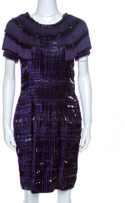 Gucci Purple Silk Embellished Fringe Detail Dress M