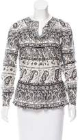 Thakoon Long Sleeve Paisley Print Top