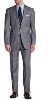 Hart Schaffner Marx Grey Pinstripe Two Button Notch Collar Wool Suit