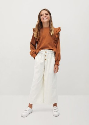 MANGO Ruffled organic cotton sweatshirt