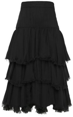 Johanna Ortiz Tiered Frayed Silk-gauze Midi Skirt