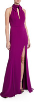 Jay Godfrey Clare Keyhole Stretch Crepe Halter Gown with Slit