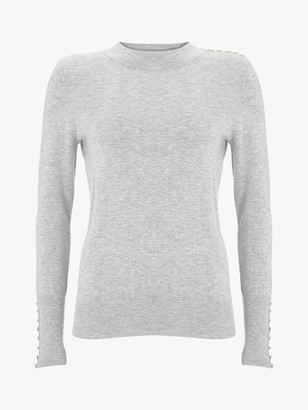 Mint Velvet High Neck Button Knit Jumper, Light Grey