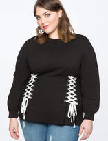ELOQUII Corset Laced Puff Sleeve Top