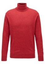 HUGO BOSS - Hybrid Neckline Sweater In Italian Virgin Wool - Dark Blue