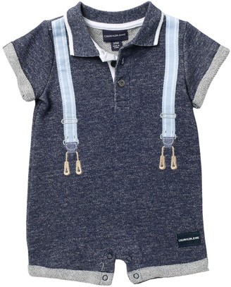 Calvin Klein Suspender French Terry Romper (Baby Boys 12-18M)