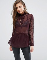Miss Selfridge Sheer And Lace Mix Blouse