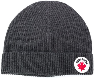 DSQUARED2 Cotton-Wool Blend Rib Knit Beanie With Logo