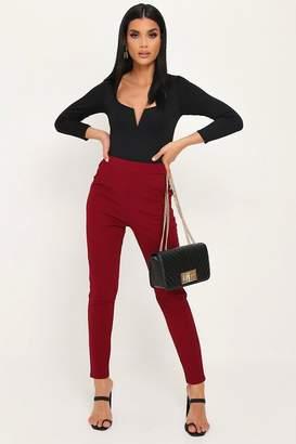 I SAW IT FIRST Dark Red High Waist Skinny Trousers