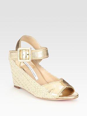 Diane von Furstenberg Sudan Metallic Leather Espadrille Wedge Sandals