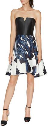 Halston Strapless Notch Neck Printed Dress