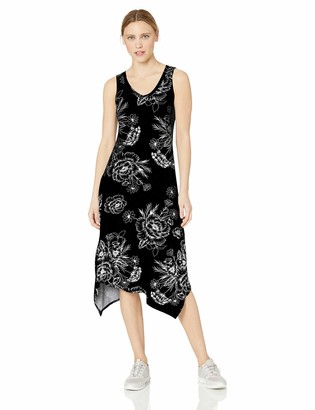 Andrew Marc Women's Printed Handkerchief Tank Midi Dress