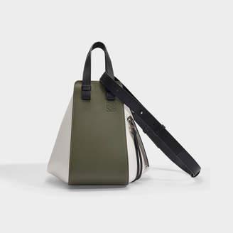 Loewe Hammock Small Bag In Khaki Green And Soft White Calfskin