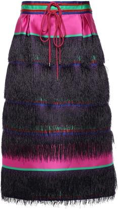 Prabal Gurung Fringe-trimmed Pleated Striped Satin Midi Skirt