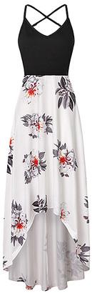 La Mode Women's Maxi Dresses Black&White - Black & White Floral V-Neck Crisscross-Back Hi-Low Dress - Women & Plus
