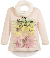 Beautees Embroidered-Mesh Inset Top and Scarf, Big Girls (7-16)
