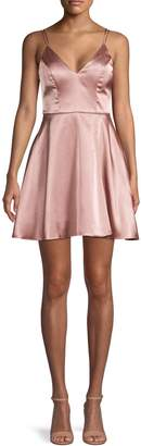Sequin Hearts Sleeveless Satin Fit--Flare Dress