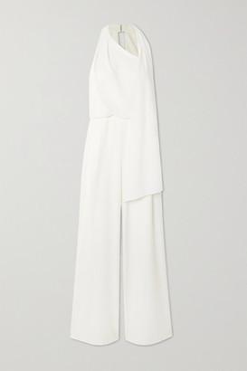 Halston Scarf-detail Draped Crepe Jumpsuit - Cream