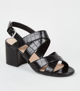 New Look Girls Faux Croc Cross Strap Heels