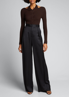 Jonathan Simkhai Leah Ribbed Cold-Shoulder Top