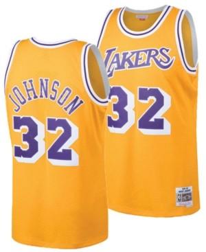 Mitchell & Ness Big Boys Magic Johnson Los Angeles Lakers Hardwood ...