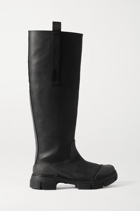 Ganni Grosgrain-trimmed Rubber Knee Boots - Black