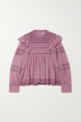Etoile Isabel Marant Viviana Crocheted Lace-trimmed Ruffled Cotton-voile Blouse - Pink