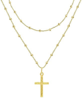 Savvy Cie 14K Yellow Gold Vermeil Italian Rosary Bead Layer Necklace
