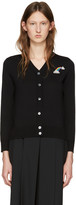 Marc Jacobs Black Wool Embroidered Patch Cardigan