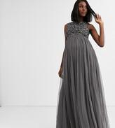 Maya Maternity Bridesmaid delicate sequin 2 in 1 maxi dress in dark grey