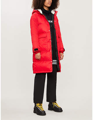 Chocoolate Logo-embroidered shell-down hooded parka coat